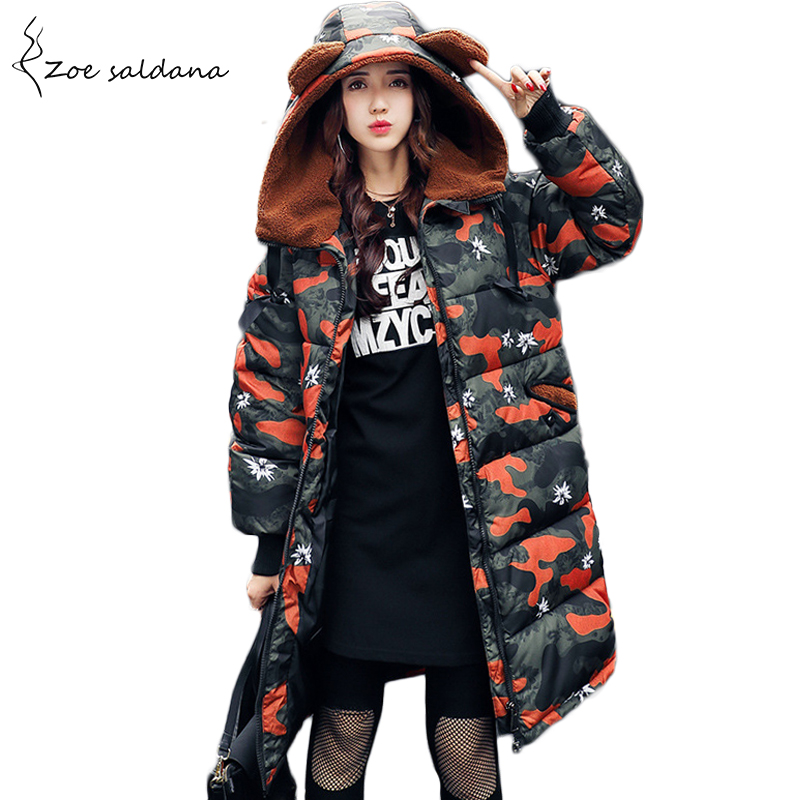Zoe Saldana 2017 Winter Jacket Women Warm Fleece Hooded Cotton Padded Jacket Camouflage Thick Long Wadded Parka zoe saldana 2017 winter wadded jacket women thick warm faux fur hooded long cotton padded jacket slim parkas winter coat