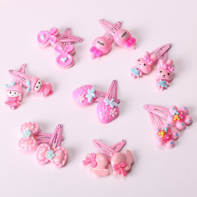 10PCS Mix Color Barrette Baby Hair Clip Cute Flower Solid Cartoon Handmade Resin Children Hairpin Girl Hair Clip Accessories