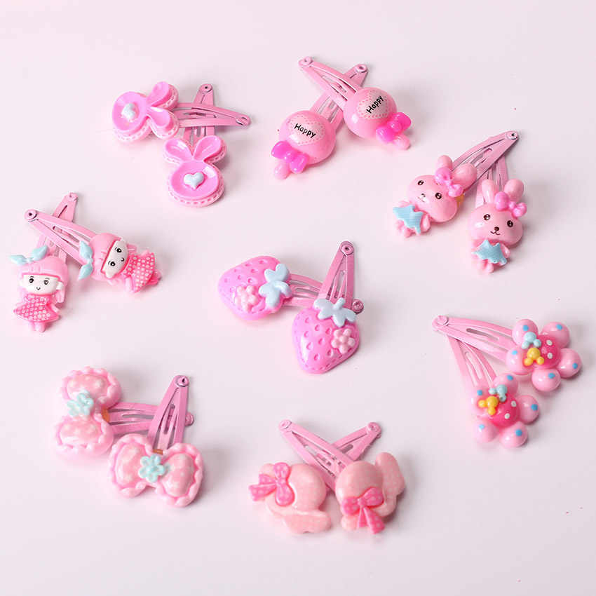10PCS Mix Color Barrette Baby Hair Clip Cute Flower Solid Cartoon Handmade Resin Children Hairpin Girl Hair Clip Accessories