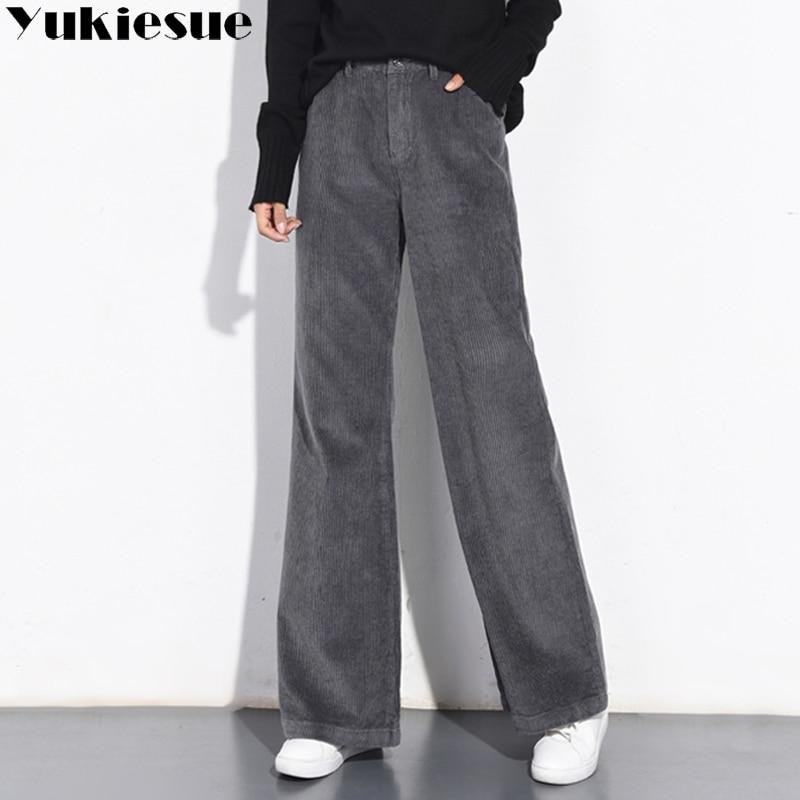 2018 Autumn Winter Corduroy Pants High Waist Long Trousers For Women Plus Size Velvet Casual Pencil Pants Female Pantalon Femme