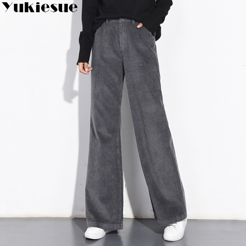2018 Autumn Winter Corduroy Pants High Waist Long Trousers for Women Plus Size Velvet Casual Pencil Pants female Pantalon Femme