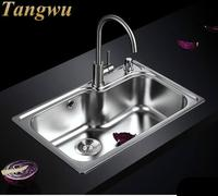 Kitchen Sinks Free shipping 304 stainless steel groove package integrated drawing thickening basin for Kitchen Sinks 70X45cm