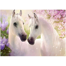 Two White Horse Mosaic 5D Diamond Painting Cross Stitch Animal Diamond Embroidery DIY Craft Living Room Bedroom Home Decoration