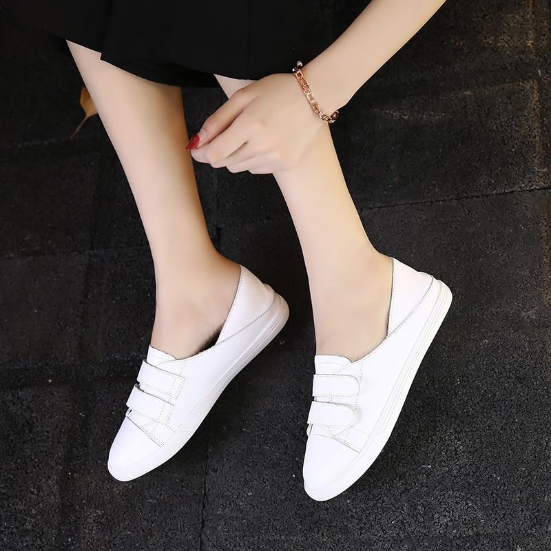 Appartements 02 Confortable De Douces Marque Cuir Casual Blanc Chaussures silver pink 01 white Dames Doux A080 02 Plat 01 green Véritable White green 01 02 100 Femmes 0nqUvO88