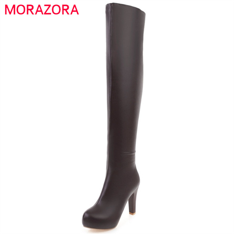MORAZORA Big size 34-43 platform boots female womens shoes over the knee boots high heels fashion boots party sexy lady nasipal 2017 new women pu sexy fashion over the knee boots sexy thin high heel boots platform woman shoes big size 34 43 g804