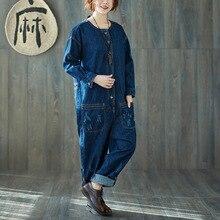 Autumn Winter 2018 Women Vintage Ripped Loose Denim Jumpsuits Jeans Rompers Ladies Denim Overalls Female retro Casual Playsuit