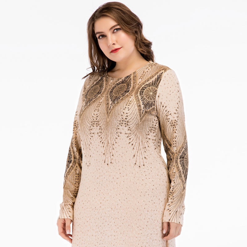 Islamic Women Vintage Abaya Muslim Dress Long Sleeve Printed Turkey Elegant Ladies Robe Maxi Long Party Dresses plus size 4XL 5