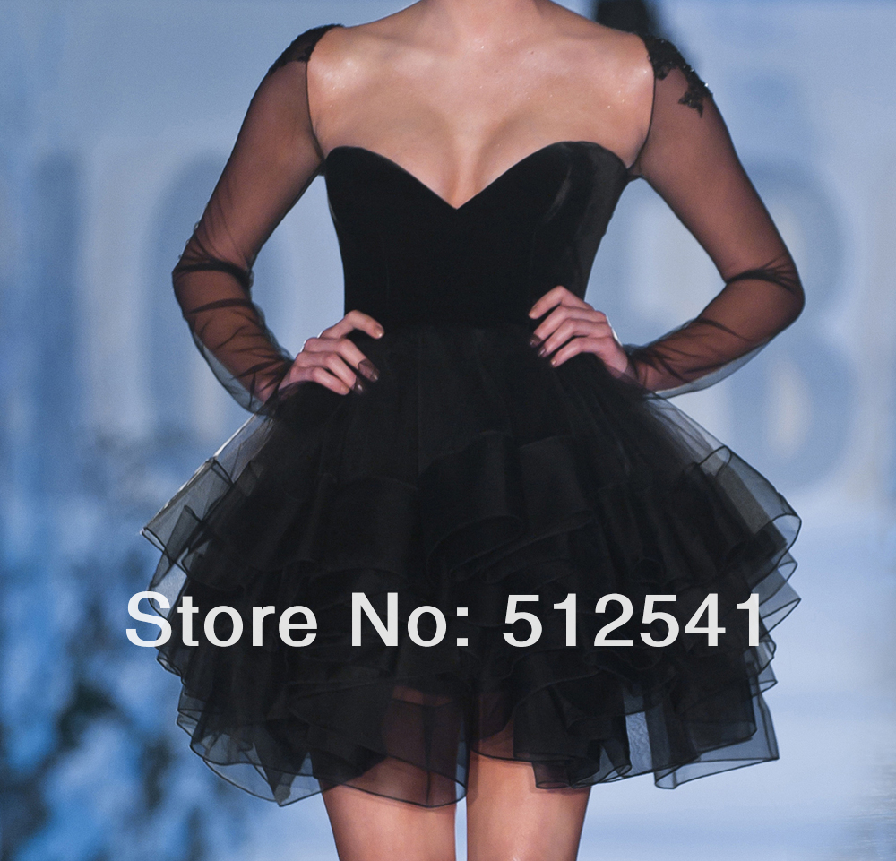 Black Long Sleeve Homecoming Dresses Aplique Ruffle Mini Short Fashion Women idodress 22 (3).jpg