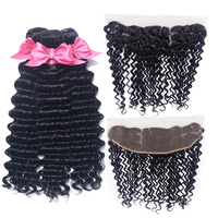 USEXY HAIR Brazilian Deep Wave Human Hair 3 Bundles With Closure 13x4 Ear To Ear Lace Frontal Closure Remy Human Hair