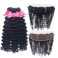 USEXY HAIR Brazilian Deep Wave Human Hair 3 Bundles With Closure 13x4 Ear To Ear Lace Frontal Closure Remy Human Hair
