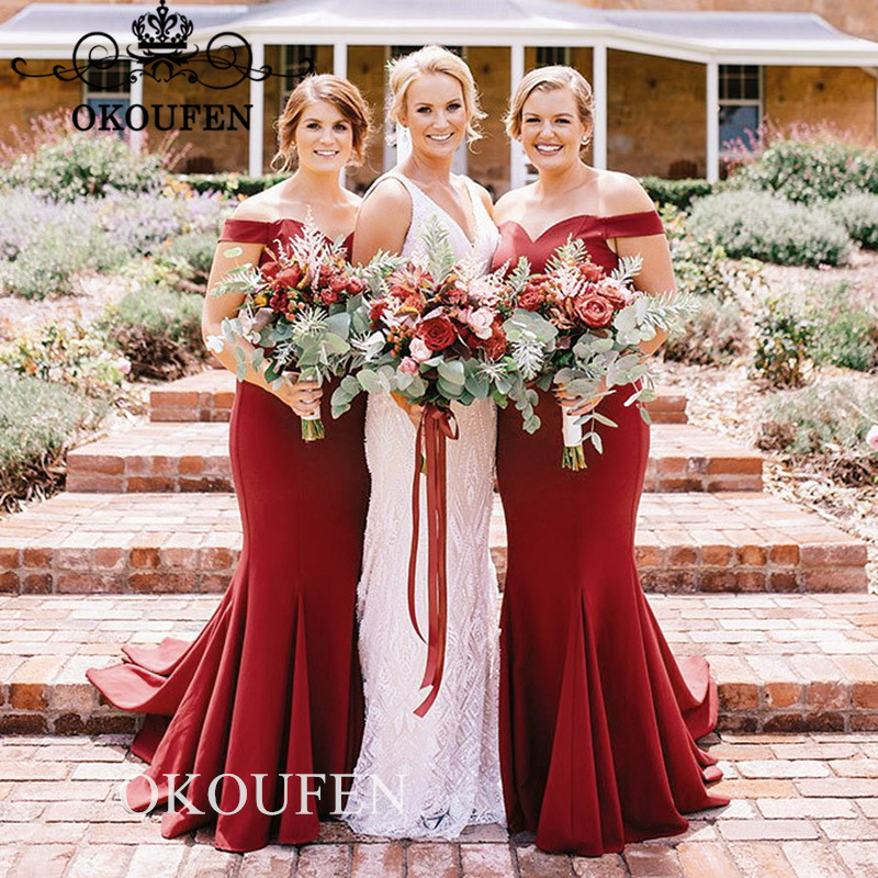 Cheap Red Long   Bridesmaid     Dresses   For Women 2019 Off Shoulder Pleat Mermaid Party   Dress   Maid Of Honor Formal Vestido Longo