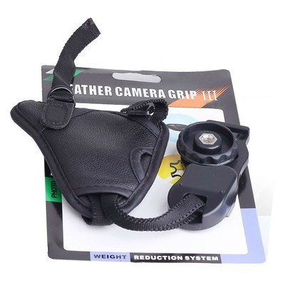 MATIAN Camera  Black Large Triangle Leather Soft Wrist Hand Strap For