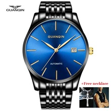 GUANQIN Men Watches Automatic Gold Watch Date Waterproof Mechanical Wristwatches Black Blue Stainless Steel Clock Man jsdun black leather mechanical watches for men business simple male clock watch stainless steel big face automatic wristwatches