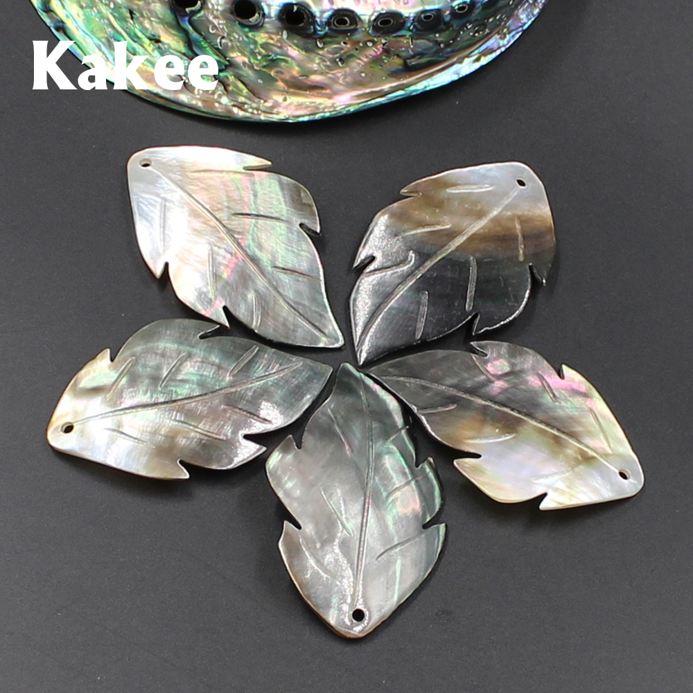 Kakee Natural Mother Of Pearl Carved Leaf Black Charms Shell Beads For DIY Jewelry Making Materials Fashion Pendant Necklaces