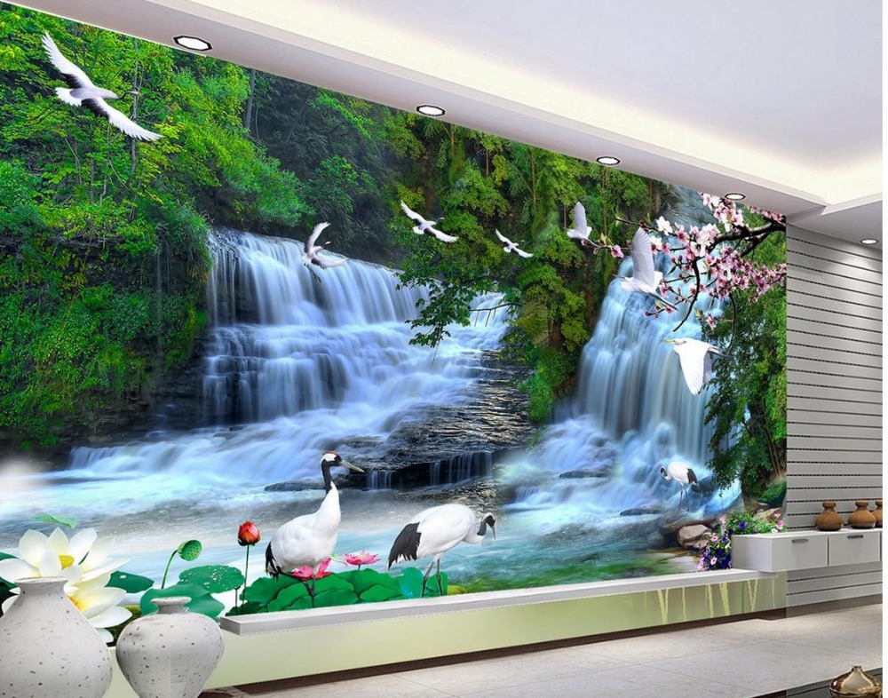 Custom 3d Photo Wallpaper 3d Wall Murals Wallpaper Hd: 3d Mural Wallpaper Custom 3d Mural Wallpaper Waterfall 3d
