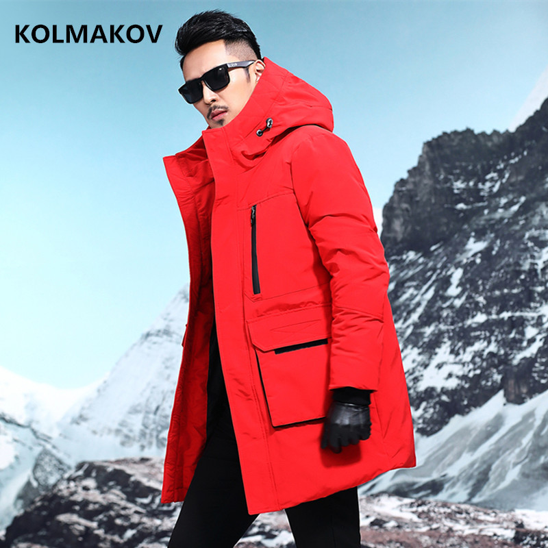 2018 winter Men's fashion Casual   down   jacket mens 90% white duck   down     coats   men jacket men,winter men's   coat   Black and red