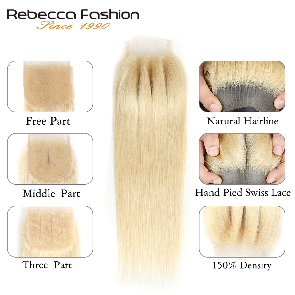 Image 4 - Rebecca 613 Blonde Bundles With Closure Malaysian Remy Straight Human Hair 3 Bundles With Closure Free Shipping-in 3/4 Bundles with Closure from Hair Extensions & Wigs