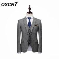 OSCN7 твил в полоску Для мужчин костюмы Slim Fit Досуг 2018 новый свадебный костюм Для мужчин плюс Размеры вечерние 3 шт. костюм homme XZ165