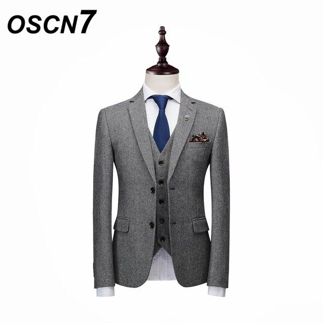 504299f00a7 OSCN7 Twill Striped Mens Suits Slim Fit Leisure 2018 New Wedding Suit Men  Plus Size Party 3PCS Costume Homme XZ165