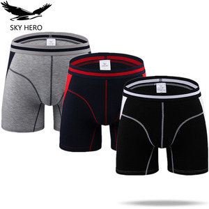 Image 1 - Boxer Long pour hommes, 3 pièces/lot, caleçon Homme à mode, Slip court, culotte masculine mince, tendance M XXXL