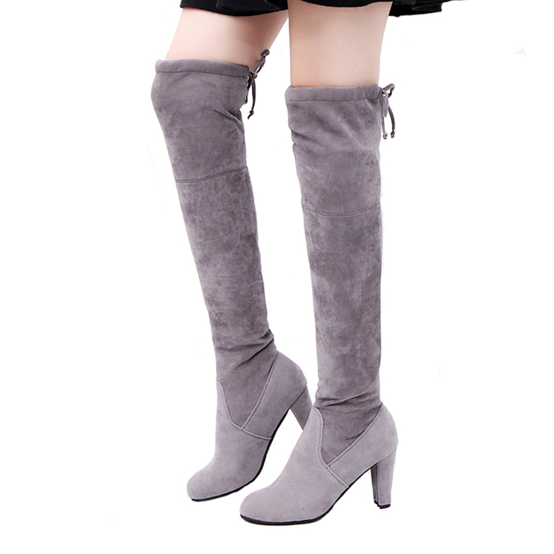 2018 Female Winter Thigh High Boots Faux Suede Leather High Heels Women Over The KneeShoes .