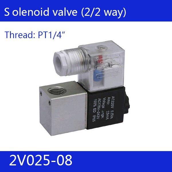 2V025-08 Livraison Gratuite 1/4 2 Position 2 Port Air Solénoïde Vannes 2V025-08 Pneumatique Soupape De Commande, DC12v DC24v AC110v AC220v