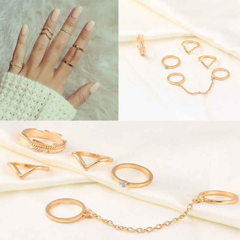 1 Set Fashion Personality Leaf Knuckle Midi Mid Finger Tip Stacking Chain Rings Jewelry for woman hot sale gift