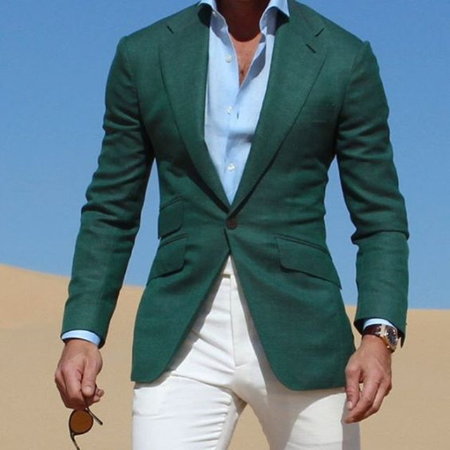 60d64726922867 Mix&Match Dark Green Jacket suits With Ivory Pants 2019 Casual Wear Young Men  Suit Fashion Party Prom Vestidos (Jacket+Pants)
