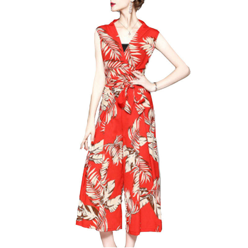 YANQING 2018 Summer New Fashion Ladies Jumpsuit Temperament Leaves Print Bow Beach Jumpsuit
