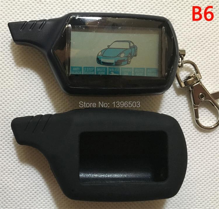 imágenes para $ Number vías B6 LCD de Control Remoto Llavero con LOGO + Funda de Silicona para el Ruso Vehículo de Seguridad Sistema de Alarma de Dos Vías Del Coche Starline B6