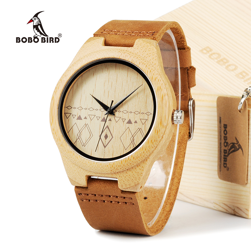 BOBO BIRD Handmade Bamboo Wooden Watch Japanese Movement Quartz Watch with Real Brown Leather Strap For Gift bobo bird bamboo wood quartz watch men women japanese majoy movement soft silicone strap casual ladies watch wristwatch for gift