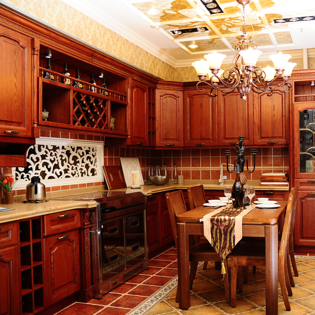 Red Oak Kitchen Cabinets Outdoor Frame Kits Central Asia Solid Wood Cabinet Fashion Quartz Stone Door L Whole