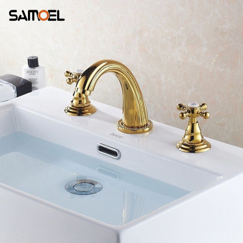 Gold Plating 3PCS Swan Neck Shape Bathroom Sink Faucet Dual Hanle Basin Mixer Taps BF1012