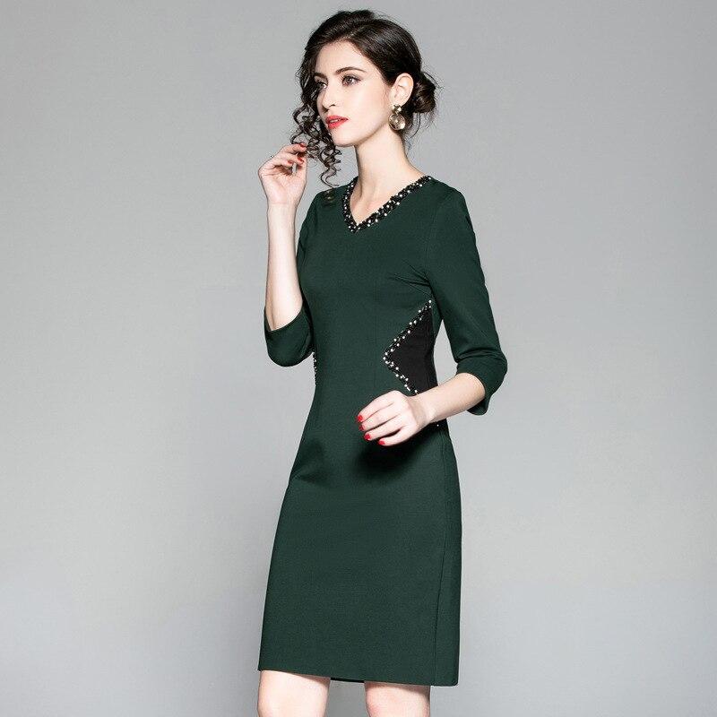 Perles Parti Robes Robe Hiver De Vintage Qualité Vêtements Bureau 2018 Casual Crayon Haute Cou Travail Nouvelle Noir Femmes vert Printemps V aCPFq1