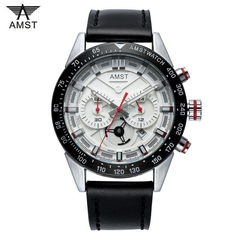 Luxury Brand New AMST Chronograph Quartz Casual Watch Men leather Fashion Clock Waterproof military WristWatch relogio masculino