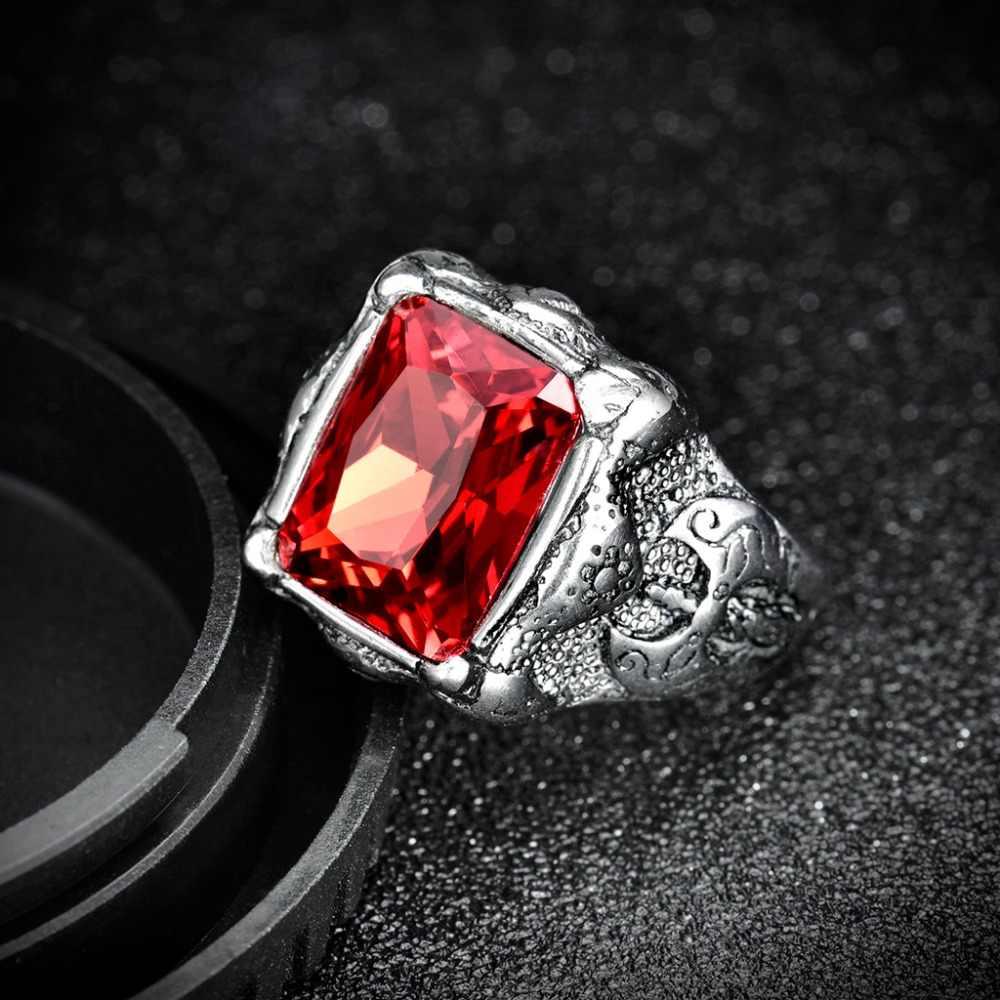 XIAGAOใหม่มาถึงตารางผู้ชายเครื่องประดับ316Lแหวนสแตนเลสสีดำสีแดง3AเพทายC Rystaแฟชั่นบุรุษเหล็กแหวน