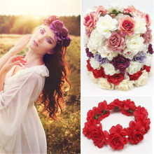 Bride Women Flower Crown Hair Band Wedding Floral Headband Garland Ribbon Bow Girl Flower Wreath Elastic Hair Accessories(China)