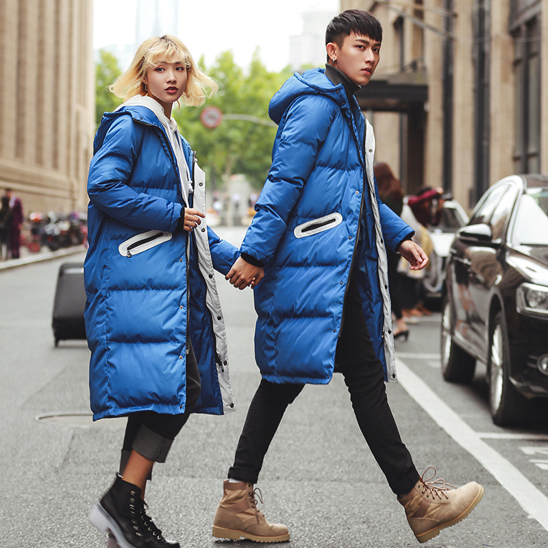 Winter Hot Sale New Fashion Simple and Comfortable X-Long Coat Lovers Thickeneing Hooded Jacket