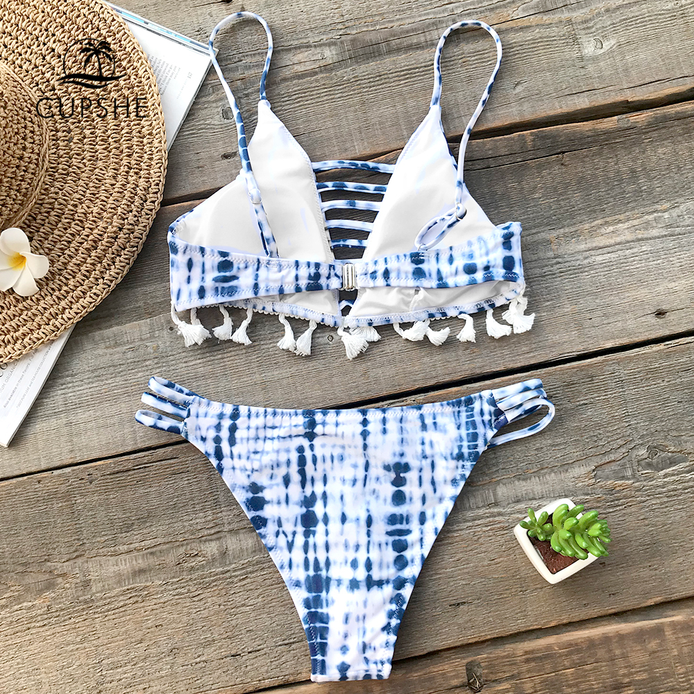 CUPSHE Blue Tie-dye Blue Bikini Set Women Lace Up Tassel Thong Two Pieces Swimwear 2020 Girl Beach Bathing Suits Swimsuits 3