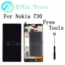 Для nokia lumia 730 735 черный жк-дисплей + сенсорный экран планшета ассамблея с рамкой + инструменты бесплатная доставка