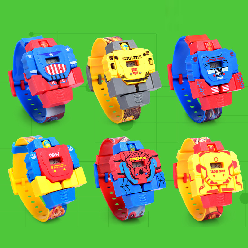 Deformed Robot Spiderman Children's Watch Kids Baby Toy Waterproof Digital Electronic Watches For Kid Boys Girls Student Clock