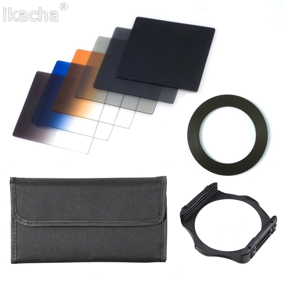 9 in 1 ND 2 4 8 + Gradual ND4 Blue Orange Filter 49 52 55 <font><b>58</b></font> 62 67 72 77 82mm Kit for Cokin P Set SLR DSLR Camera Lens image