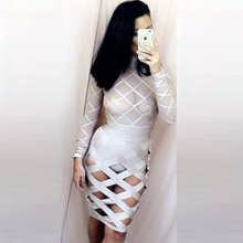 INDRESSME Free Shipping 2017 New Long Sleeve Hollow Out Sexy Mesh Bandage Dress Party Wholesale