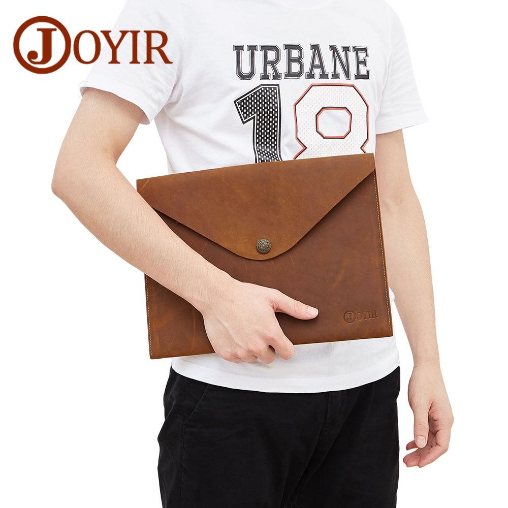 JOYIR A4 Ipad Bag Genuine Leather Document Solid Vintage Hasp Handbag Clutch Envelope For Men Male New 2058