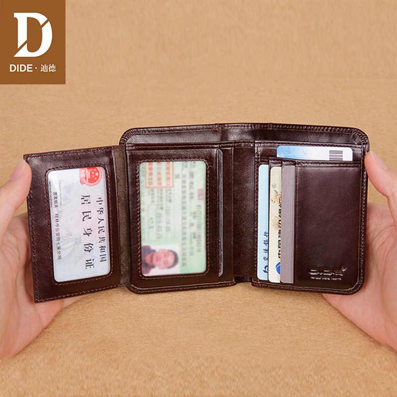 Dide estilo clássico carteira de couro genuíno dos homens carteiras curto masculino bolsa titular do cartão carteira masculina moda alta qualidade pequeno fino