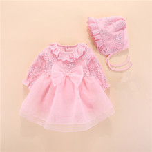 Bow Newborn Baby Girl Clothes My First New Year Princess Baby Clothing Cotton Girls Dress and Baby Hat 2pcs Baby Set 2019 Brand