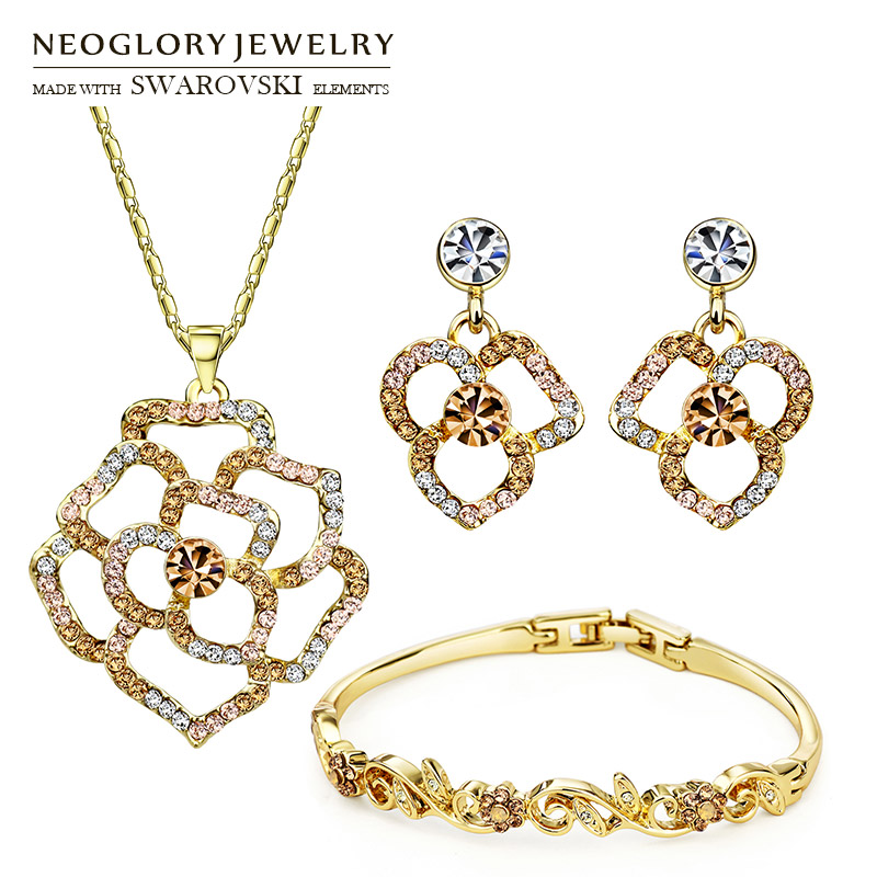 Neoglory MADE WITH SWAROVSKI ELEMENTS Rhinestone Jewelry Set Flower Style Necklace & Earring & Bracelet For Summer Lady Classic