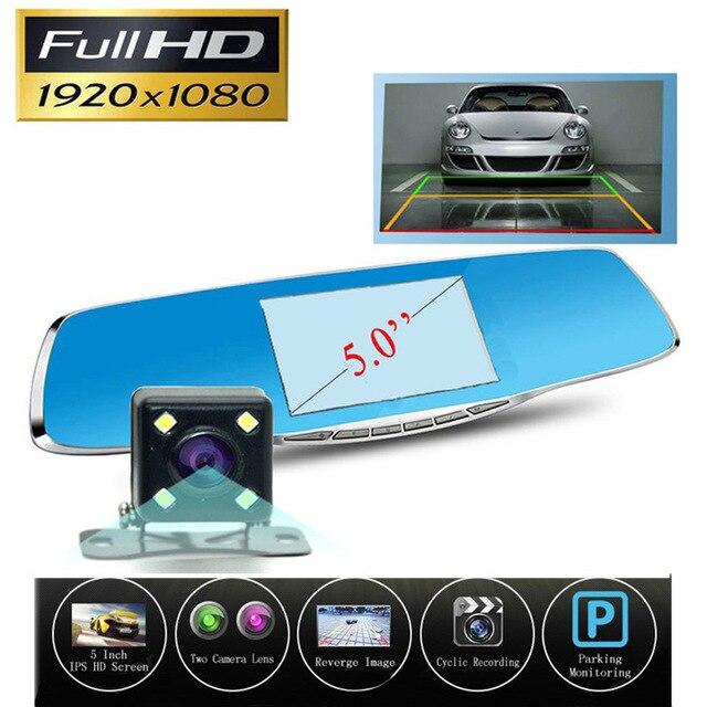 Best 5 Inch Car Dvr Camera Rearview Mirror Digital Video Recorder With Dual Lens Registrar Camcorder Full HD 1080P Night Vision