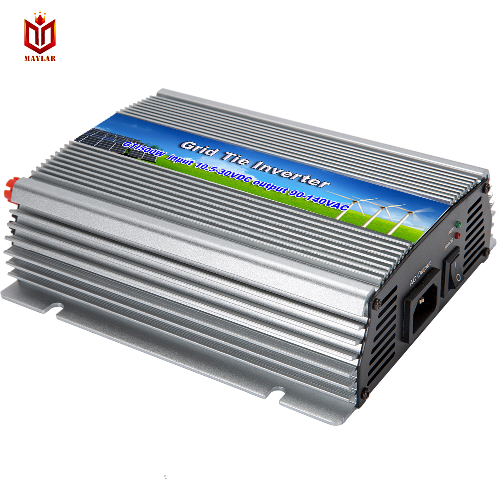 MAYLAR@ Free Shipping Micro Invereter Grid Tie Inverter WV500 Input 22-50VDC Output 90-140VAC On Grid Inverter Power inverter free shipping 600w wind grid tie inverter with lcd data for 12v 24v ac wind turbine 90 260vac no need controller and battery