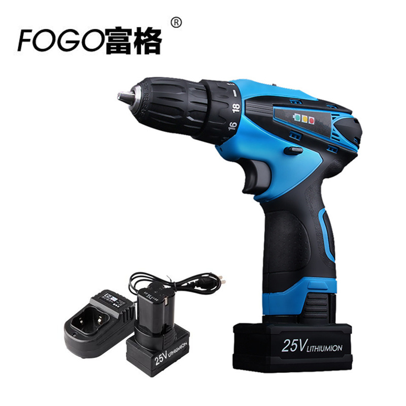 FOGO 25v Rechargeable Lithium Battery 2 hand Cordless Electric Drill Electric Screwdriver Torque drill Screw driver